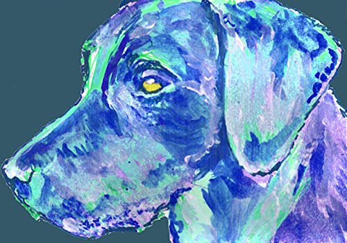 Abstract Labrador Wall Art, Colorful Blue Labrador Art, Lab Owner Decor, Lab Dog Art Print, Lab Memorial Choice Of Sizes Painting Giclee Print Hand Signed by Pet Portrait Artist Oscar Jetson. - Dog portraits by Oscar Jetson