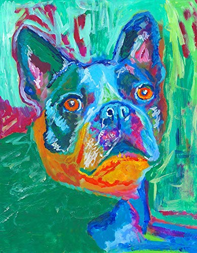 Abstract Boston Terrier Painting Print, Colorful Boston Bull Memorial, Colorful Dog Owner Painting Gift Hand Signed By Oscar Jetson Choice Of Sizes - Dog portraits by Oscar Jetson