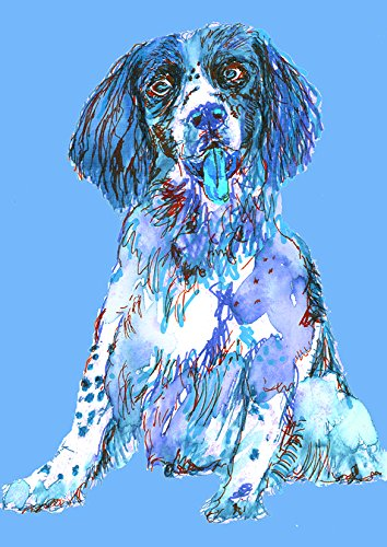 Springer Spaniel Wall Art Print, Blue Colorful Springer Spaniel Gift,Dog Owner Gift, Modern Wall Art Decor, Gun Dog Watercolor Painting Hand Signed by Oscar Jetson - Dog portraits by Oscar Jetson