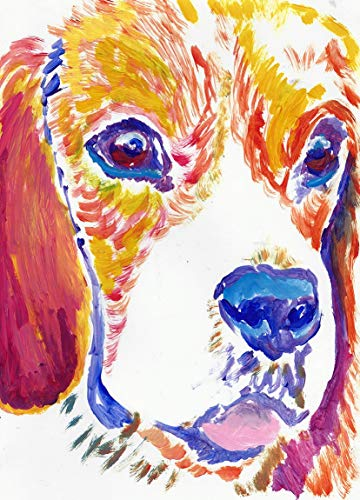 Beagle Puppy Wall Art Decor, Colorful Dog Art Print, Beagle Owner Gift, Beagle Nursery Art Painting Choice Of SIzes Hand Signed By Pet Portrait Artist Oscar Jetson - Dog portraits by Oscar Jetson