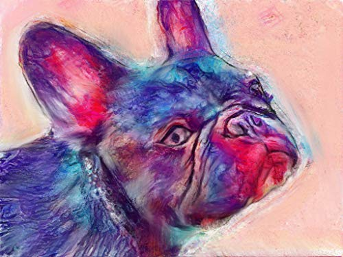 French Bulldog Dog Wall Art Decor, Modern Frenchie Dog Memorial, Abstract Dog Picture Gift Choice of Sizes Hand Signed by Dog Portrait Artist Oscar Jetson. - Dog portraits by Oscar Jetson