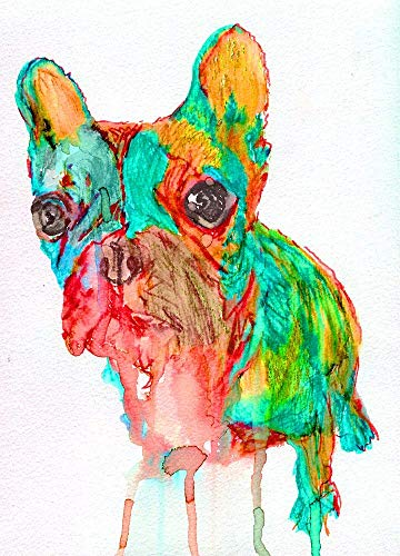 French Bulldog Wall Art Print, Frenchie Owner Gift, Abstract Nursery Artwork, Modern Frenchie Mom Dog Decor Choice of Size Hand Signed by Artist Oscar Jetson. - Dog portraits by Oscar Jetson