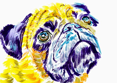 Colorful Pug Wall Art Print, Modern Pug Mom Artwork, Dog Owner Gift, Cute Pug Wall Hanging Art Choice of Size Hand Signed by Oscar Jetson. - Dog portraits by Oscar Jetson