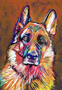 German Shepherd Wall Art Print, Colorful German Shepherd Artwork, GSD Owner Gift, Colorful Alsatian Dog Art, Dog Pastel Art Print, German Shepherd Wall Art - Dog portraits by Oscar Jetson