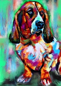 Basset Hound Wall Art Print, Colorful Basset Hound Art, Basset Hound Decor, Basset Hound Dog Picture, Dog Artwork Print, Colorful Basset Owner Gift Hand Signed by Oscar Jetson - Dog portraits by Oscar Jetson