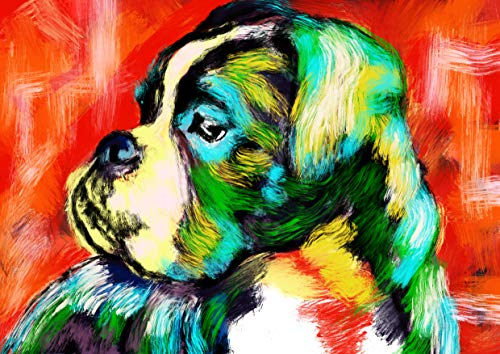 Boxer Dog Art Print, Colorful Boxer Dog Gift, Dog Wall Art Print, Boxer Dog Decor Hand Signed Boxer Mom Gift by Oscar Jetson - Dog portraits by Oscar Jetson