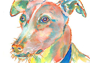 Lurcher Wall Art Print, Sighthound Owner Dog Artwork, Colorful Abstract Lurcher Dog Wall Hanging Decor, Lurcher Terrier Painting Print Signed By Artist Oscar Jetson - Dog portraits by Oscar Jetson