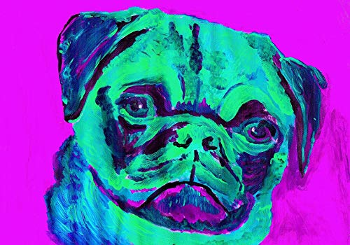 Pug Wall Art Print, Colorful Pug Artwork, Dog Owner Gift, Pug Pop Art, Doggy Decor Choice of Size Hand Signed by Oscar Jetson. - Dog portraits by Oscar Jetson
