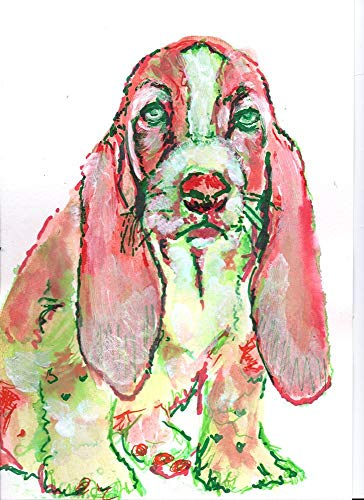 Basset Hound Wall Art Decor, Colorful Basset Hound Painting, Dog Breed Gift Idea, Dog Artwork,Doggy Decor Choice of Size Hand Signed by Artist Oscar Jetson. - Dog portraits by Oscar Jetson
