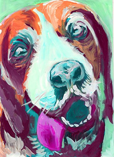 Abstract Beagle Painting Pop Art Print, Colorful Purple and Aquamarine Beagle Decor, Beagle Owner Gift, Beagle Dog Mom, Dog Wall Art Print, signed by Oscar Jetson