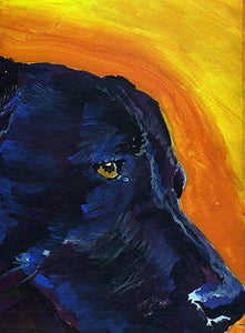 Black Labrador Wall Art Print, Colorful Lab Dog Painting, Retriever Pet Memorial, Nursery Art Choice Of Sizes Hand Signed By Pet Portrait Artist Oscar Jetson - Dog portraits by Oscar Jetson