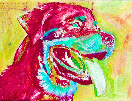 Abstract Rottweiler Wall Art Print, Dog Owner Gift, Pert Memorial, Colorful Abstract Decor Rottie Painting Hand Signed By Oscar Jetson Choice Of Sizes - Dog portraits by Oscar Jetson