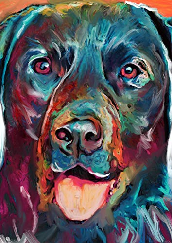 Colorful Labrador Wall Art Print, Hand Signed Modern Lab Owner Gift, Blue Labrador Print, Gift For Labrador Mom, Dog Art Vivid Modern Labrador Dog Artwork Signed by Oscar Jetson - Dog portraits by Oscar Jetson