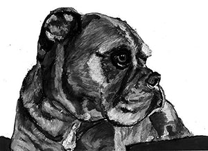 Boxer Dog Art, Boxer Dog Gift, Boxer Dog Wall Artwork, Black Boxer Dog Wall Art Print, Boxer Dog mum Decor Hand Signed by Oscar Jetson - Dog portraits by Oscar Jetson