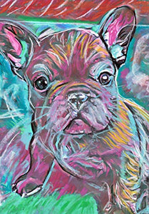 French Bulldog Puppy Art, Colorful Frenchie Pastel Painting, Frenchie Owner Gift, Bulldog Decor, Dog Wall Art Print, Modern French Bull Dog Art Print - Dog portraits by Oscar Jetson