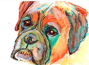 Boxer Dog Art, Boxer Dog Gift, Colorful Brindle Boxer Dog Art, Gift For Boxer Dog Owner, Boxer Mom Art, Dog Abstract Painting, Modern Boxer Dog Painting by Oscar Jetson - Dog portraits by Oscar Jetson