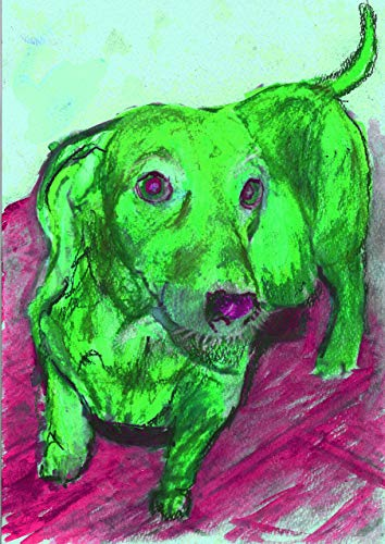 Green Pink Dachshund Dog Wall Art Print, Colorful Dachshund Dog Gift, Doxie Nursery art, Gift for Doxie Owner, Abstract Dog Painting Print Choice of Size Hand Signed by Pet Artist Oscar Jetson. - Dog portraits by Oscar Jetson