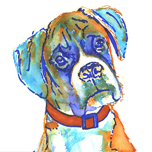 Colorful Boxer Dog Painting Art Print, Boxer Dog Gift, Colorful Brindle Boxer Dog Art, Gift For Boxer Dog Owner, Orange Boxer Mom Art, Abstract Watercolor Boxer Dog Painting by Oscar Jetson - Dog portraits by Oscar Jetson
