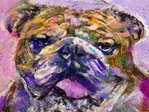 Colorful Bulldog Dog Wall Art Decor, Abstract British Bulldog Dog Memorial, Abstract Dog Picture Gift Choice of Sizes Hand Signed by Dog Portrait Artist Oscar Jetson. - Dog portraits by Oscar Jetson