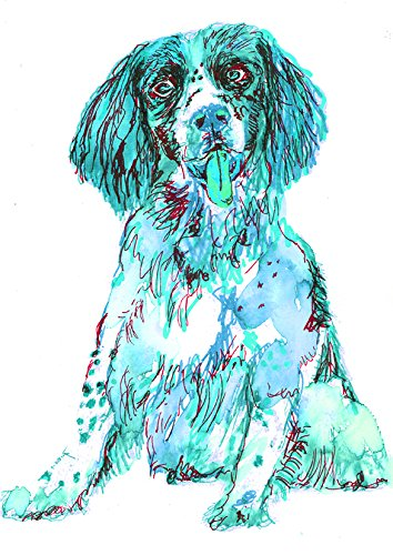 Blue Springer Spaniel Wall Art Print, Colorful Springer Spaniel Gift, Spaniel Owner Gift, Dog Wall Art Decor, Colorful Dog Watercolor Painting Hand Signed by Oscar Jetson - Dog portraits by Oscar Jetson
