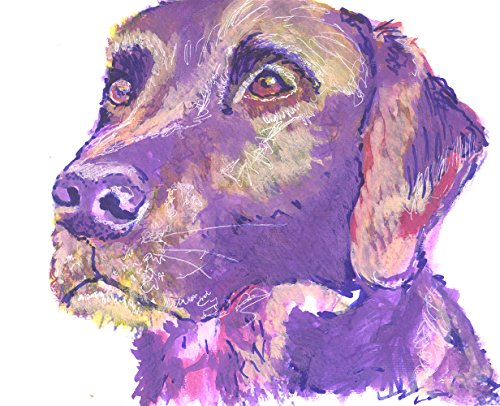 Purple Labrador Wall Art Print, Labrador Mom Gift, Lab Dog Artwork, Gift For Labrador Owner, Dog Painting, Labrador Dog Painting Print - Dog portraits by Oscar Jetson