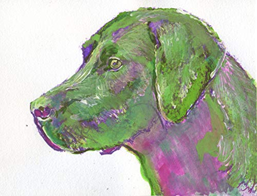 Abstract Pink Green Labrador Wall Art, Colorful Labrador Retriever Dog Print, Gift For Lab Owner, Dog Art Print, Labrador Dog Painting Signed by Artist Oscar Jetson. - Dog portraits by Oscar Jetson