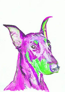 Pink and Green Doberman Pinscher Wall Art Print, Colorful Dog Breed Gift, Nursery Art, Dobie Owner Gift, Dog Wall Art, Painting Print Choice of Sizes Hand Signed by Pet Portrait Artist Oscar Jetson. - Dog portraits by Oscar Jetson
