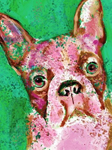 Pink Boston Terrier Wall Art Print, Colorful Boston Terrier Nursery Art, Boston Terrier Owner Gift, Dog Art Print, Abstract Boston Terrier Watercolor Wall Decor Signed by Oscar Jetson - Dog portraits by Oscar Jetson