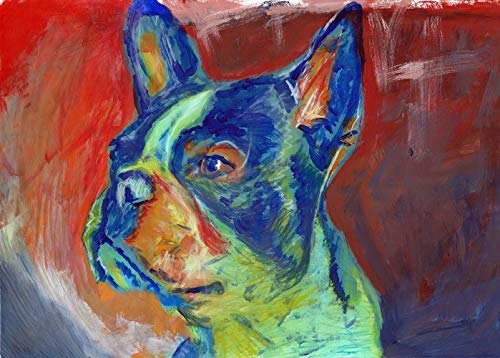 Abstract Boston Terrier Wall Art Print, Colorful Boston Terrier Memorial, Dog Owner Gift, Dog Nursery Decor, Boston Bull Painting Decor Hand Signed By Oscar Jetson Choice Of Sizes - Dog portraits by Oscar Jetson