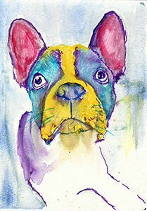 Tricolor French Bulldog Art, Frenchie Home decor, Colorful French Bulldog Mom Gift, French Bull decor, Gift for Frenchie Owner, hand signed by Dog Artist Oscar Jetson - Dog portraits by Oscar Jetson