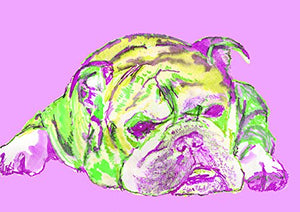 English Bulldog Art, Bright Colorful Green Purple Bulldog mom decor, Abstract Bulldogl Painting, English Bulldog Owner Gift, Colorful English Bulldog Dog Breed Watercolor Art Print, Bulldog Decor - Dog portraits by Oscar Jetson