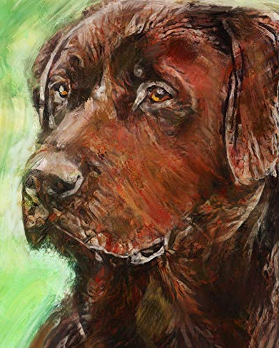 Wise Chocolate Labrador Wall Art Print, Hand Signed Chocolate Lab Owner Gift, Lab Mom Print, Gift For Labrador Lover, Labrador Dog Painting Art Print Signed by Oscar Jetson - Dog portraits by Oscar Jetson