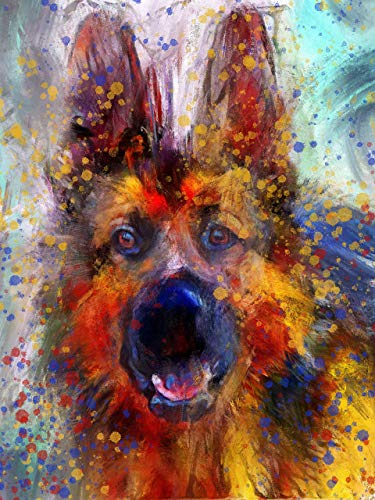 German Shepherd Wall Art Print, Colorful German Shepherd Artwork, GSD Owner Gift, Modern Alsatian Dog wall decor, Abstract Painting Print by Artist Oscar Jetson. - Dog portraits by Oscar Jetson