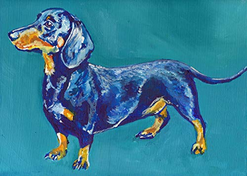 Dachshund Dog Wall Art Print, Colorful Doxie Dog Art, Nursery Decor, Dachshund Owner Gift, Dog Memorial Painting Print, Colorful Dog Picture Hand Signed By Pet Artist Oscar Jetson Choice Of Size - Dog portraits by Oscar Jetson