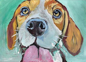 Beagle Dog Wall Art Print, Colorful Beagle Pop Art, Dog Owner Gift, Beagle Memorial Gift, Dog Painting Decor Choice Of Sizes Hand Signed By Pet Portrait Artist Oscar Jetson - Dog portraits by Oscar Jetson