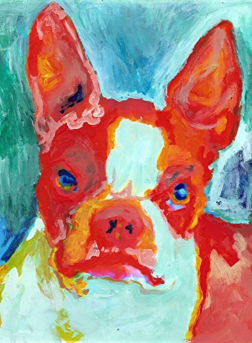 Boston Terrier Wall Art Print, Colorful Dog Wall Art, Boston Terrier Owner Gift, Dog Memorial Art Print, Colorful Canine Decor Hand Signed By Pet Portait Artist Oscar Jetson Choice Of Sizes - Dog portraits by Oscar Jetson