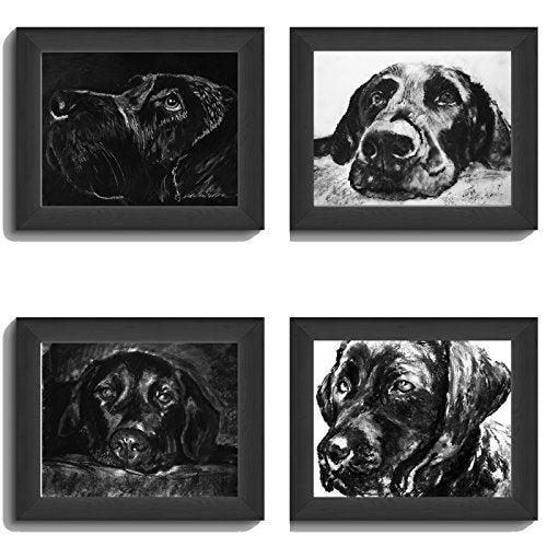 Black Labrador Art Collection, FOUR Labrador Charcoal Wall Art Prints, Black Lab Picture, Labrador Dog Owner Gift, Lab Dog Art, Dog Wall Art Print, Black Labrador Dog Drawing by Oscar Jetson - Dog portraits by Oscar Jetson