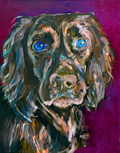 English Cocker Spaniel Art, Cocker Spaniel Painting Home Decor, Gift For Cocker Spaniel Owner, Spaniel Painting, Gift For Cocker Spaniel Mom, Dog Art Print, Black Cocker Signed Print by Oscar Jetson - Dog portraits by Oscar Jetson