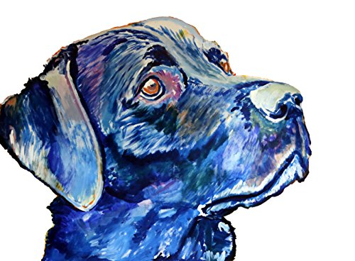Labrador Gift, Lab Wall Art, Colourful Blue Labrador Wall Art Print, Labrador Mom, Lab Dog Decor Gift For Labrador Owner, Dog Painting, Abstract Lab Art - Dog portraits by Oscar Jetson