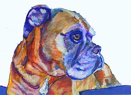 Boxer Dog Wall Art Print, Dog Memorial Gift, Brindle Boxer Dog Watercolor, Decor Gift Idea, Choice Of Sizes, Hand Signed By Pet Portait Artist Oscar Jetson - Dog portraits by Oscar Jetson