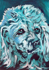 Poodle Wall Art Print, Colorful Blue Poodle Mom Gift, Dog Painting, Poodle Lover, Standard Poodle Nursery Art, Blue Turquoise Standard Poodle, Colorful Dog Painting Signed by Oscar Jetson - Dog portraits by Oscar Jetson