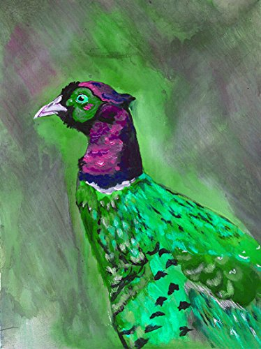 Abstract Pheasant Art Print, Colorful Green Purple Pheasant Bird Art, Pheasant Lover Gift, Animal Nature Wall Art Print, Vibrant Pheasant Gift Wall Decor - Dog portraits by Oscar Jetson