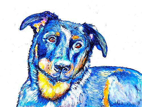 Beauceron Wall Art Print, Colorful Dog Memorial Artwork, Beauceron Owner Gift, Dog Picture Abstract Decor, Choice Of Sizes Hand Signed By Oscar Jetson - Dog portraits by Oscar Jetson