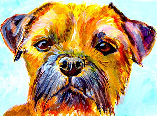 Border Terrier Wall Art Print, Colorful Dog Memorial Art, Nursery Decor, BT Owner Gift, Watercolor Painting Decor Hand Signed By Pet Artist Oscar Jetson Choice Of Sizes. - Dog portraits by Oscar Jetson