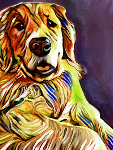 Golden Retriever Wall Decor, Modern Abstract Golden Retriever Owner Gift, Goldie Mom, Golden Retriever Art Decor, Abstract Golden Retriever Wall Art Print, Dog Art Print hand signed by Oscar Jetson - Dog portraits by Oscar Jetson