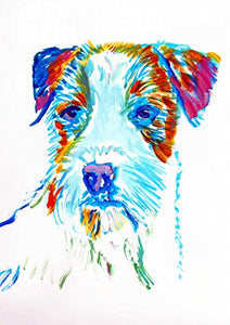 Jack Russell Art, JRT Nursery Art, Colorful long-haired JRT Pop Art Print, Gift for Jack Russell Owner, JRT Mom, Jack Russell Decor, Colorful Jack Russell Dog Watercolor Painting by Oscar Jetson - Dog portraits by Oscar Jetson