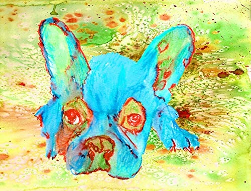 French Bulldog Watercolor Art Print, Frenchie Owner Gift, French Bulldog Memorial, Colorful French Bull Dog Picture Hand Signed By Oscar Jetson Choice Of SIzes - Dog portraits by Oscar Jetson