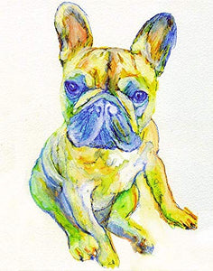 French Bulldog Wall Art Decor, Dog Mom Gift, Frenchie Owner, French Bulldog Memorial, Dog Art Print, Colorful Dog Decor Choice Of Sizes Hand Signed by Pet Portrait Artist Oscar Jetson. - Dog portraits by Oscar Jetson