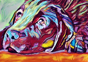 Colorful Labrador Wall Art Print, Hand Signed Lab Owner Gift, Lab Mom Print, Gift For Labrador Lover, Modern Labrador Dog Painting Art Print Signed by Oscar Jetson - Dog portraits by Oscar Jetson