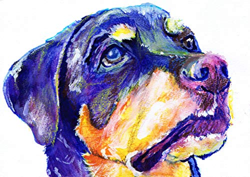 Rottweiler Art Print, Colorful Rottie Painting, Rottweiler Owner Gift, Rottie Dog Art Print, Rottie Mom Dog Lover Decor - Dog portraits by Oscar Jetson